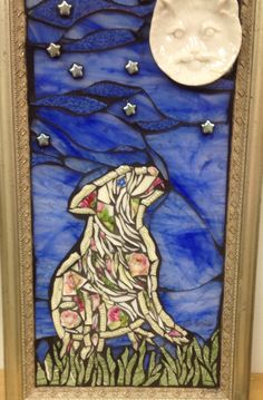 Mosaic dog gazing at cat moon by Lisa Skibenes  Broken china, stained glass, beads, ceramic dish   Pique assiette