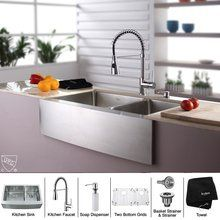 """View the Kraus KHF203-33-KPF1612-KSD30 33"""" Farmhouse 70%2F30 Double Bowl 16 Gauge Stainless Steel Kitchen Sink with KPF-1612 Kitchen Faucet and KSD-30 Soap Dispenser at FaucetDirect.com."""