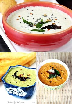 coconut chutney for breakfast & snacks. Coconut chutney is a condiment served with idli, vada, dosa, pakora and many snacks. Veg Recipes, Curry Recipes, Indian Food Recipes, Vegetarian Recipes, Cooking Recipes, South Indian Chutney Recipes, Delicious Recipes, Cooking Tips, Idli Chutney