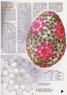 Crochet in all quantities Crochet Ball, Crochet Chart, Crochet Home, Easter Crochet Patterns, Easter Egg Crafts, Easter Eggs, Tatting Patterns, Crochet Videos, Yarn Crafts