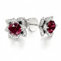 Stud Earrings LOTUS BLOSSOM #stud #lotus #garnet #earrings