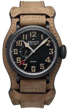 Zenith 96.2431.693/21.C740 Pilot Montre d'Aeronef Type 20 GMT - швейцарские мужские наручные часы - титановые, черные