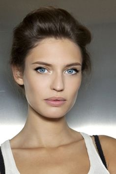 Clear skin + bright eyes. Draw attention with dark brown eyeliner and black mascara.