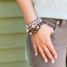 Animal Print and Leopard Double Band Bracelets | #tandjdesigns