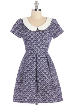 Waves of Winsome Dress. Youll feel particularly pretty when you go about your day in this patterned blue dress! #blue #modcloth