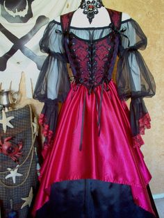 Red and Black Medallion Wedding Pirate Renaissance by scalarags, $165.00