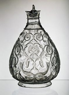 Rock crystal ewer.  Egypt, ca. 1000-1050. Strictly speaking, this is made of clear quartz, not glass.
