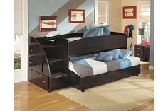 """The Embrace Youth Loft Bed from Ashley Furniture HomeStore (AFHS.com). The dark finish and simplified contemporary design of the """"Embrace"""" youth bedroom collection creates a sleek stylish collection that any child would love to have within their bedroom decor."""