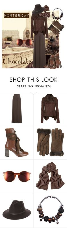 """""""Chocolate on a Winter Day"""" by sunnyjuke ❤ liked on Polyvore featuring Valentino, Rick Owens, Chloé, UGG, Sunday Somewhere, Black, Fallenbrokenstreet and Madison"""