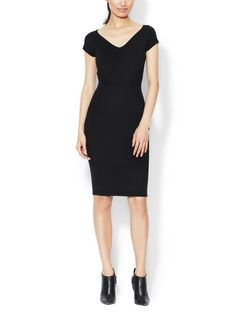 Wool V-Neck Seamed Sheath Narciso Rodriguez