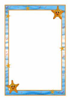 Starfish A4 page borders (SB7450) - SparkleBox