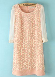 Pink Long Sleeve Back Zipper Embroidery Dress - Sheinside.com