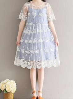 Women loose fit over size white lace flower embroidered dress tunic women loose fitting over plus size lace cotton flower dress 2 piece fashion chic unbranded mightylinksfo