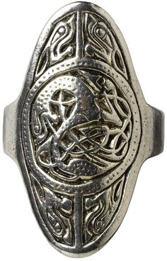 Silver Ring | England, Britain Date:775-850. The focus on silver gave rise to new decorative schemes: the material lent itself to different techniques such as repoussé, chip carving and the openwork seen on the present ring. The growth in popularity of these decorative techniques was accompanied by a distinctive development of zoomorphic style, characterised by lively beasts, interlaced meshes and speckled surfaces, all of which are present in the central roundel of this ring.