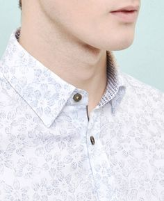 Faded floral print cotton shirt