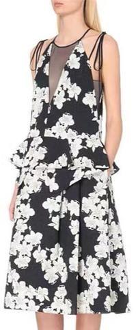 Black Mesh Panel Floral Dress