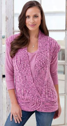 Free Knitting Pattern for Rib and Twist Vest - Heather Lodinksy's flattering vest features a unique construction and easily transitions from day-to-night. Chest 35″, 39″, 42″, 46″ 50″, 54″