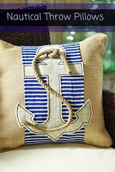I love nautical decorative throw pillows, they are absolutely charming, adorable and super cute. Also very trendy right now as beach, coastal and tropical home décor are crazy popular right now. These would look stylish on a couch, bed or chair and perfect for a bedroom or living room. Nautical Throw Pillows