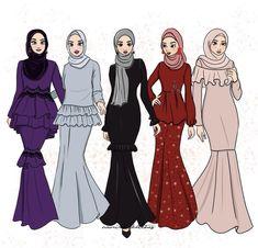 Fesyen baju raya Dress Design Sketches, Fashion Design Drawings, Fashion Sketches, Fashion Illustration Collage, Fashion Illustration Dresses, Muslim Fashion, Hijab Fashion, Fashion Art, Model Kebaya