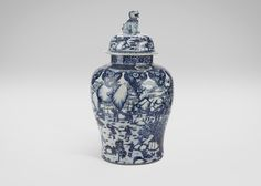 Ethan Allen Blue and White Foo Dog Jar