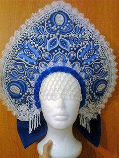 Купить Кокошник Гжель ( высокий) - синий, цветочный, кокошник, гжель, головной убор