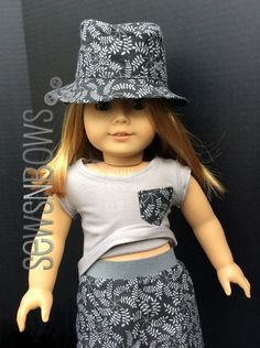 Fedora, skirt, & pocket tee for AG doll- 3 piece set!