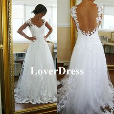 Lace Wedding Dress Ball Gown Wedding Dress Straps di LoverDress, $180.00