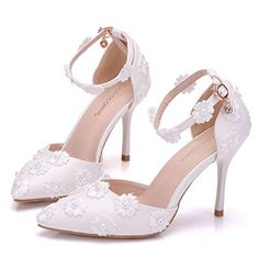 Crystal Queen Bridal Shoes Thin Heels Sandals Pointed Toe High Heels Women  Pumps White Lace Wedding Shoes  Crystal queen bridal shoes  cute high heels  ... bde10f7e199d