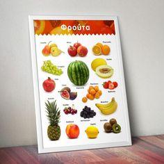 Εκπαιδευτική αφίσα με διάφορα φρούτα.