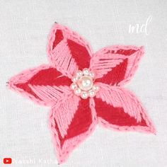 can master the art of this flower embroidery!Anybody can master the art of this flower embroidery! Hand Embroidery Videos, Hand Embroidery Flowers, Embroidery Stitches Tutorial, Sewing Stitches, Silk Ribbon Embroidery, Hand Embroidery Designs, Diy Embroidery, Embroidery Techniques, Cross Stitch Embroidery