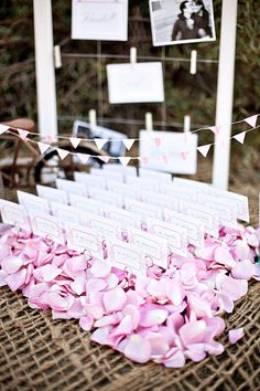 Escort Card Holder with Flower Petals on Etsy