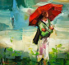 "Daily Paintworks - ""Ein Sommer Regen"" - Original Fine Art for Sale - © Edward B. Umbrella Painting, Umbrella Art, Modern Art, Contemporary Art, Rain Art, Figure Drawing, Figurative Art, Female Art, Art Images"