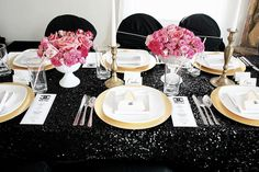 Black sequin table cloths for the bride and groom table, cake table and cocktail tables
