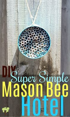 Mason bee hotel.   spray paint empty soup cans with Rustoleum color paint, then stuff them with paper straws cut to size