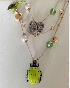 Betsey Johnson NWT Vintage Critters Lady Bug Flower Leaf Multi Strand Necklace #BetseyJohnson #Statement