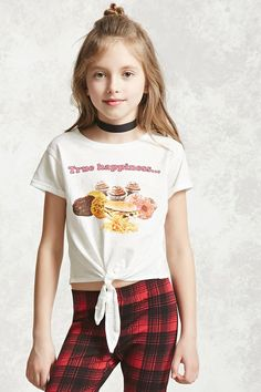 """Forever 21 Girls - A slub knit tee featuring a """"True Happiness…"""" felt graphic with a photo of cookies, donuts, burgers, and fries, short sleeves with cuffs, and a self-tie front."""