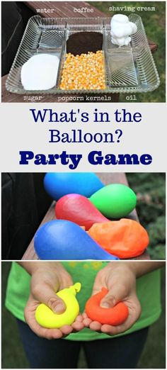 Party Games for Kids Mystery Sensory Balloons is part of Science Party Games - This easy DIY game is great for preschoolers, elementary kids & teenagers perfect for birthday parties, backyard or carnival games & can be used in your classroom science area Slumber Party Crafts, Slumber Parties, Craft Party, Kids Birthday Party Games, Diy Birthday, Teenage Party Games, Crafts For Birthday Parties, Birthday Ideas For Kids, Backyard Birthday