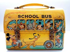 1960 antique old walt disney tin lunch box school bus by aladdin industries dear buyers, we are pleased to offer you unique vintage rare walt disney tin school bus lunch boxno significant scratching o Retro Lunch Boxes, Lunch Box Thermos, Tin Lunch Boxes, Metal Lunch Box, Vintage Theme, Vintage Tins, Vintage Metal, Disney Lunch Box, School Pencil Boxes