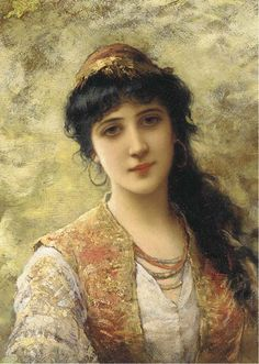 Emile-Eisman Semenowsky - A young beauty in an embroidered vest