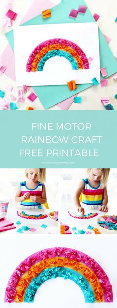 A fun rainy day activity to do with toddlers or preschoolers. Great for strengthening fine motor skills in children. Free rainbow printable and more kids craft ideas on the blog. www.fourcheekymonkeys.com via @4cheekymonkeys