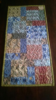 Quilted table runner autumn floral home decor 13x by Joanna1966