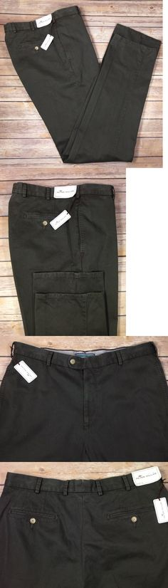 Pants 57989: Peter Millar Men S Pima Cotton Olive Flat Front Casual Pants Size 34 X 36 Nwt -> BUY IT NOW ONLY: $55.24 on eBay!