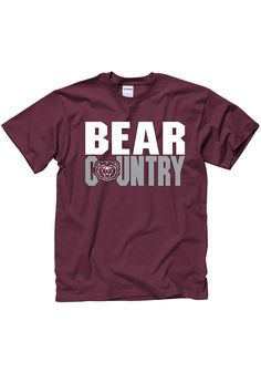 Show everyone you root for the Bears with this Missouri State Bears Mens Maroon SLOGAN Short Sleeve T Shirt! Rally House has a great selection of new and exclusive Missouri State Bears t-shirts, hats, gifts and apparel, in-store and online. School Spirit Shirts, School Shirts, School Shirt Designs, Bear T Shirt, Country Shirts, Missouri, Short Sleeve Tee, Slogan, Bears