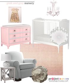Pink and Gray Nursery Design Board featuring @carouseldesigns's Pink and Gray Rosa Collection bedding