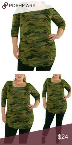 """➕ COMING! """"Jane"""" Camo Print Top Show off your curves in this camoflauge print top. Features scoop neck, 3/4 length sleeves, rounded hem. Pair with burgundy jacket (in closet) for a unique fall look!  Color: Army Green Camouflage Material: Polyester Size: XXL & XXXL Wild Plum Tops Tees - Long Sleeve"""