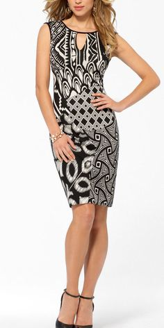 NWT CACHE Sexy Stretch BLACK   WHITE Dress Office - Evening Party   S 2-4  M 6-8 #CACHE #Sheath #Cocktail