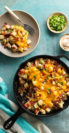 When it comes to weeknight cooking, it's hard to beat the convenience of single-skillet prep. This hearty Tex-Mex meal features a little bit of everything--veggies, chicken, cheese and a sprinkling of bacon! Substitute shredded Mexican cheese blend for the shredded Cheddar cheese, if you like!