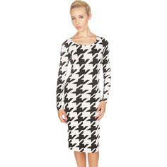 Lavish Alice Black and White Houndstooth Long Sleeve Midi Dress £24