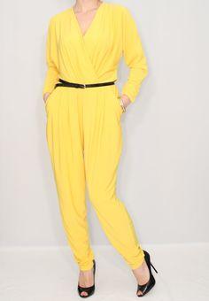 Yellow jumpsuit Long sleeve jumpsuit Batwing jumpsuit by dresslike