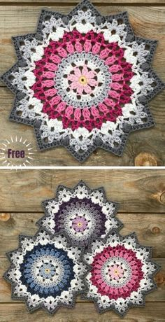 Amigurumi häkeln Crochet Winter Mandala Free Crochet Pattern & Paid C Knitting Projects, Crochet Projects, Knitting Patterns, Crotchet Patterns Free, Free Knitting, Crochet Dishcloths Free Patterns, Free Crochet Doily Patterns, Baby Patterns, Crochet Mandala Pattern